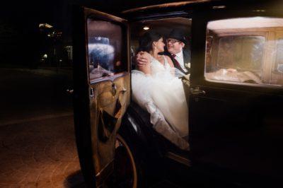 wedding getaway vintage car at night