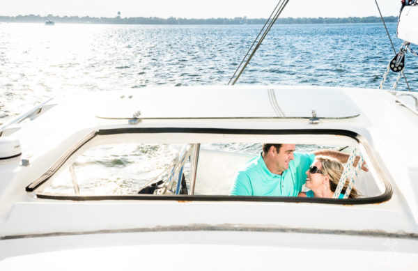 John Henry and Stephanie through the window of the catamaran