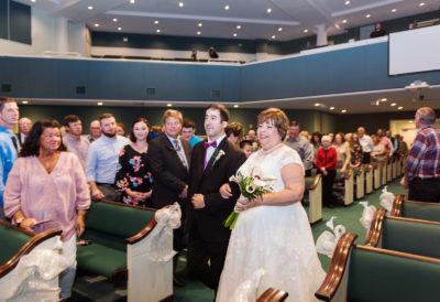 Melinda walking down the aisle