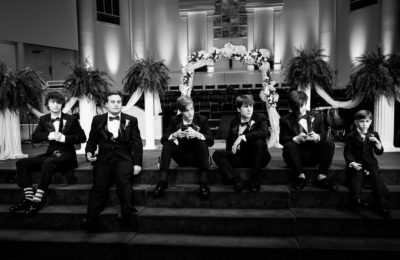 Melinda and Deon's groomsmen - black and white