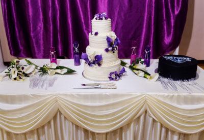 Melinda and Deon's wedding cake and Groom's cake