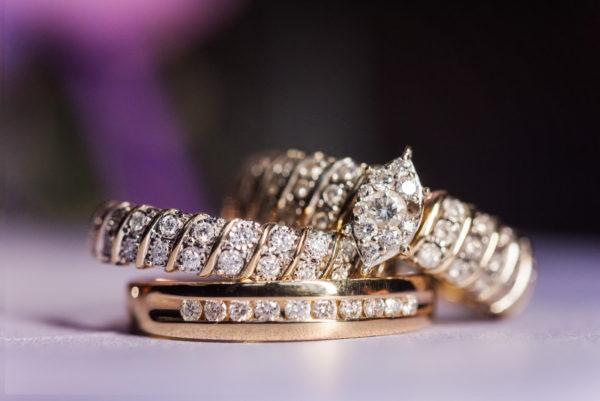 Melinda and Deon's rings - purple background