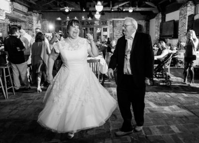 Melinda and Deon dancing in Seville Quarter - black and white