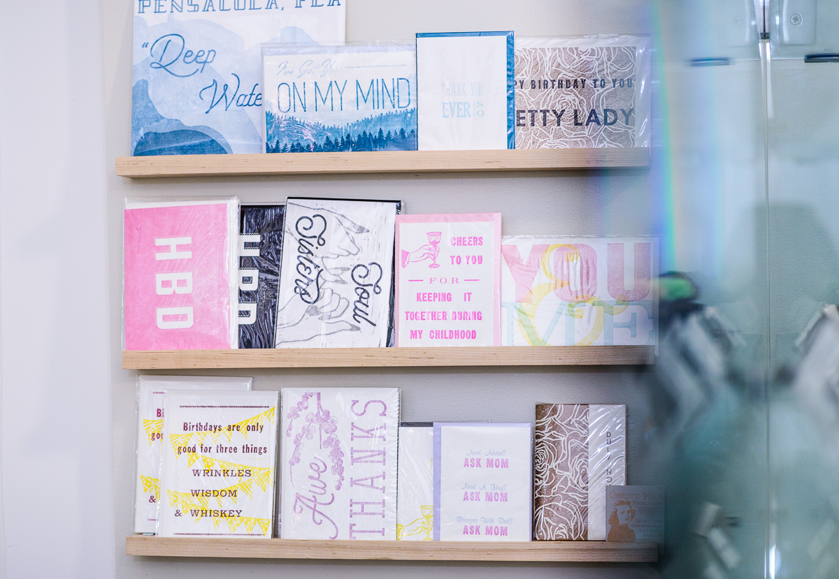 Blue Jay's Bakery's greeting card selection