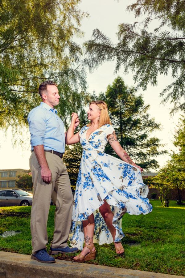 Carly and Rick dancing - Downtown Milton Riverwalk Engagement