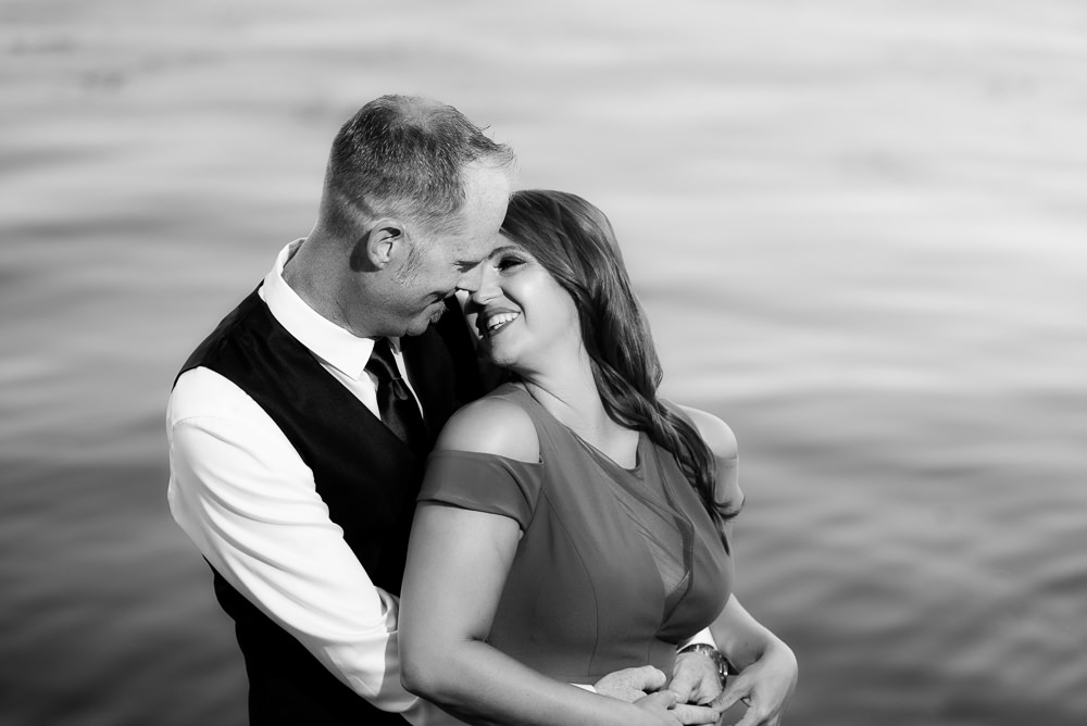 Couple looking at each other and smiling, black and white, Larrabee State Park Engagement, Lazzat Photography, Engagement photos