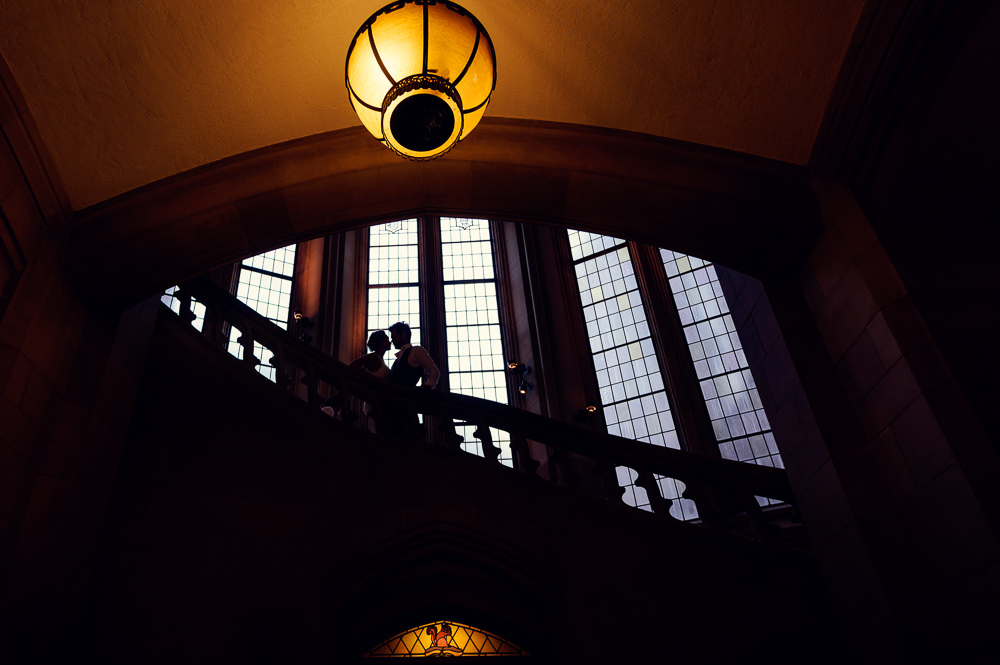Silhouette of couple in the Suzzallo library, Epic Couple's Session in Seattle, Lazzat Photography, Engagement photos, wedding photos