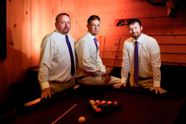 Brent and his Groomsmen by the pool table, Ates Ranch Wedding Barn, Rustic Barn Wedding, Pensacola wedding photographer, Lazzat Photography