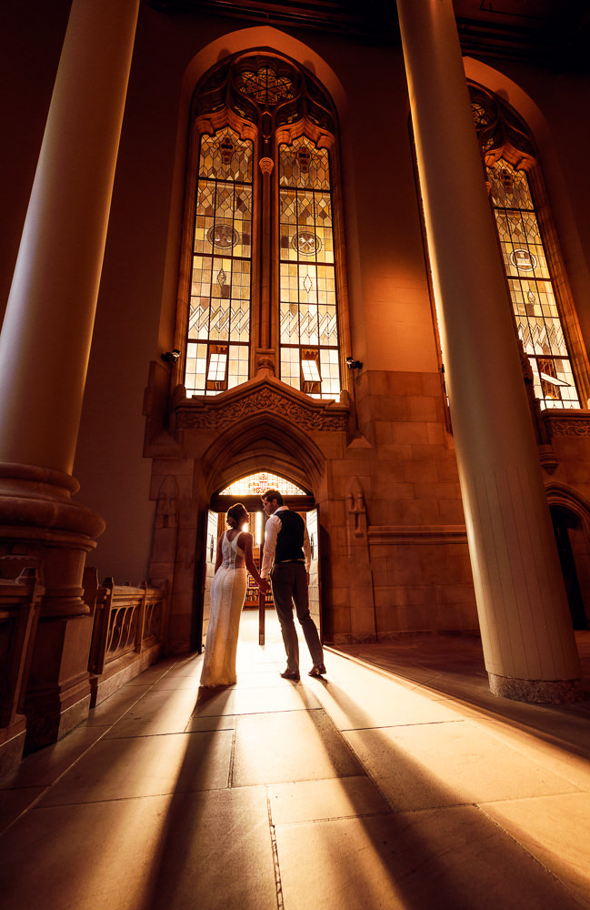 Couple walking away in the Suzzallo library, Epic Couple's Session in Seattle, Lazzat Photography, Engagement photos, wedding photos