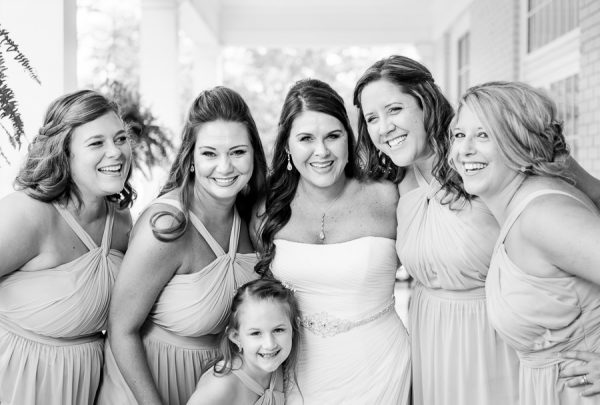 Downtown Pensacola Wedding, close up of Kerri with her bridesmaids black and white, Lazzat Photography