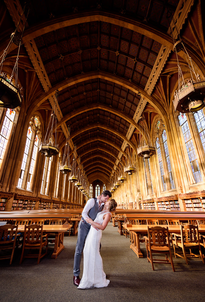 Man dipping woman in the Suzzallo library, Epic Couple's Session in Seattle, Lazzat Photography, Engagement photos, wedding photos