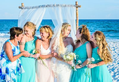 Pensacola Beach Destination Wedding, Desireé with her mom, grandma, sisters and niece on the beach, Lazzat Photography