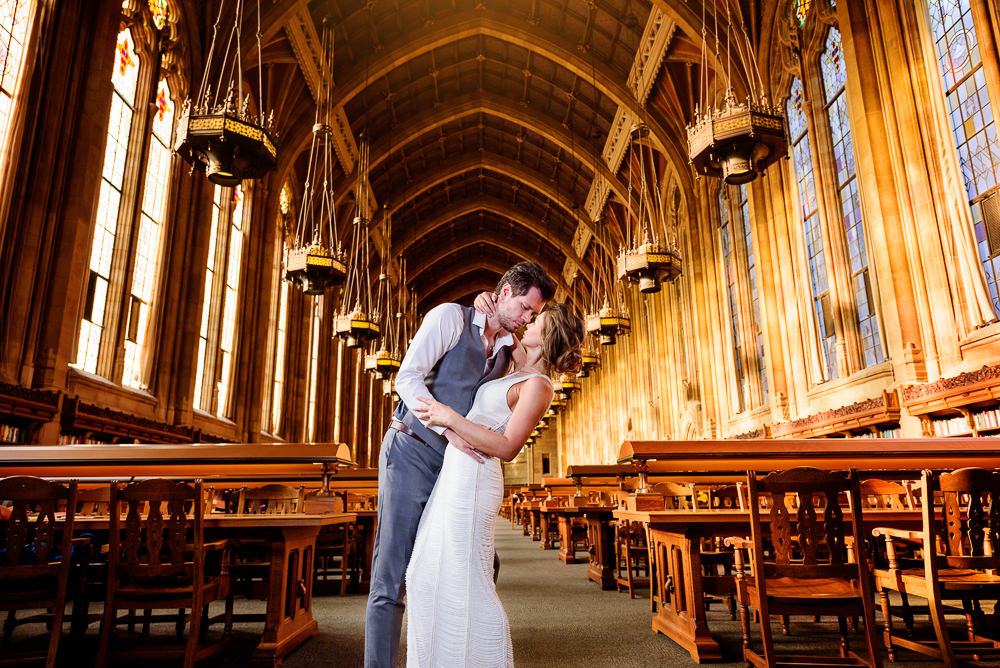 Close up of man dipping woman in the Suzzallo library, Epic Couple's Session in Seattle, Lazzat Photography, Engagement photos, wedding photos