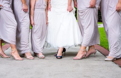 Downtown Pensacola Wedding, close up of Kerri and her bridesmaid's shoes, Lazzat Photography