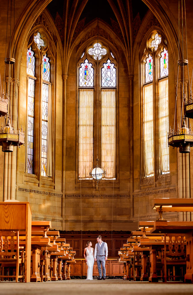 Couple standing far away in the Suzzallo library, Epic Couple's Session in Seattle, Lazzat Photography, Engagement photos, wedding photos