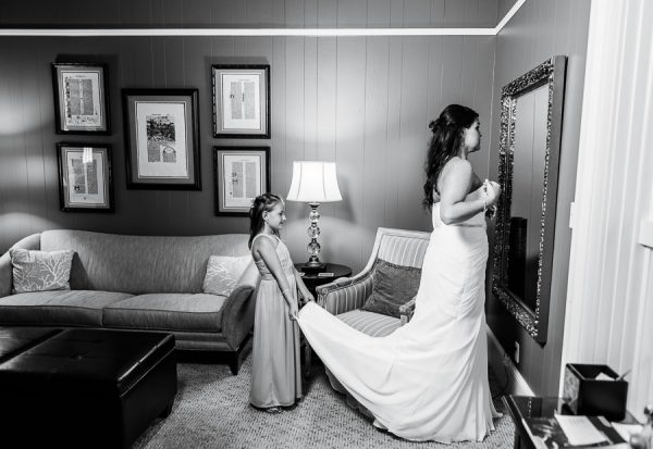 Downtown Pensacola Wedding, Kerri's looking in the mirror which girl holding her dress, Lazzat Photography