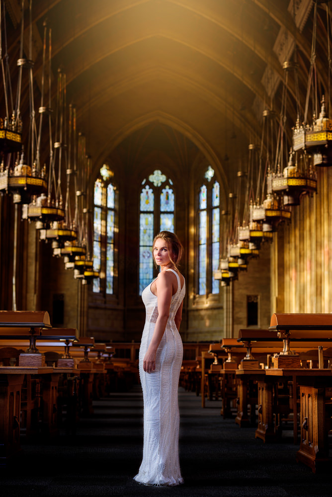 Woman in white dress in the Suzzallo library, Epic Couple's Session in Seattle, Lazzat Photography, Engagement photos, wedding photos