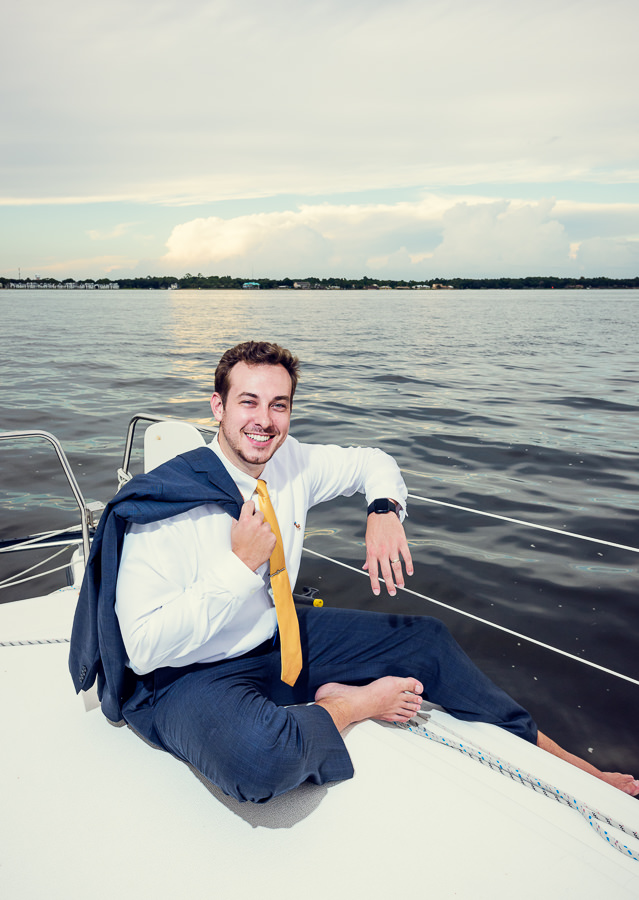 Husband's portrait on a sailboat, Epic Pensacola Sunset Sailing, Lazzat Photography