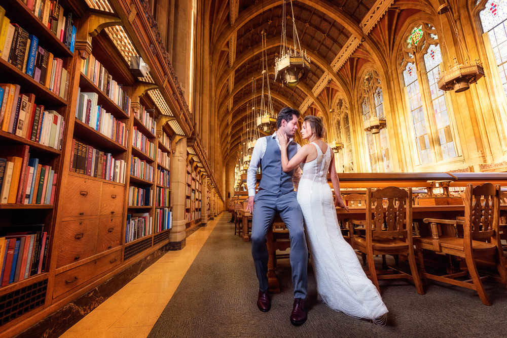 Couple looking at each other in the Suzzallo library, Epic Couple's Session in Seattle, Lazzat Photography, Engagement photos, wedding photos