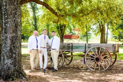 Brent and his Groomsmen in front of the old wagon, Ates Ranch Wedding Barn, Rustic Barn Wedding, Pensacola wedding photographer, Lazzat Photography