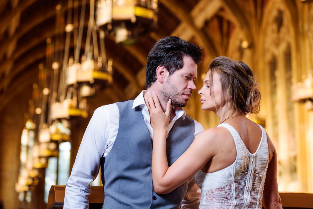 Close up of couple looking at each other in the Suzzallo library, Epic Couple's Session in Seattle, Lazzat Photography, Engagement photos, wedding photos