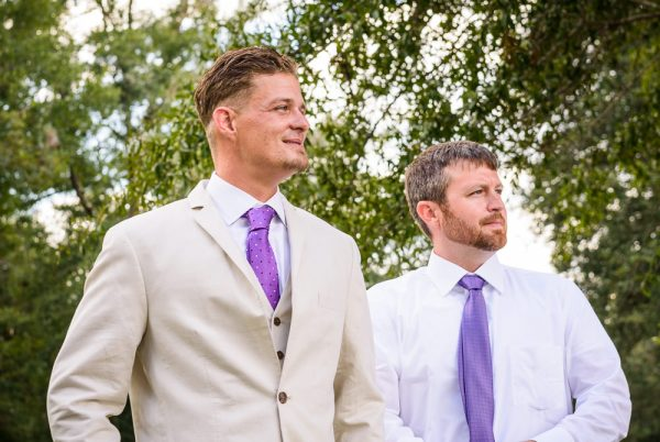 Brent and his best man seeing Michelle walk down the aisle, Ates Ranch Wedding Barn, Rustic Barn Wedding, Pensacola wedding photographer, Lazzat Photography