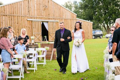 Brent's dad walking Michelle down the aisle, Ates Ranch Wedding Barn, Rustic Barn Wedding, Pensacola wedding photographer, Lazzat Photography