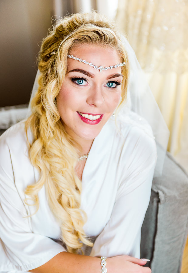 Pensacola Beach Destination Wedding, close up of Desireé in her robe before her wedding, Lazzat Photography