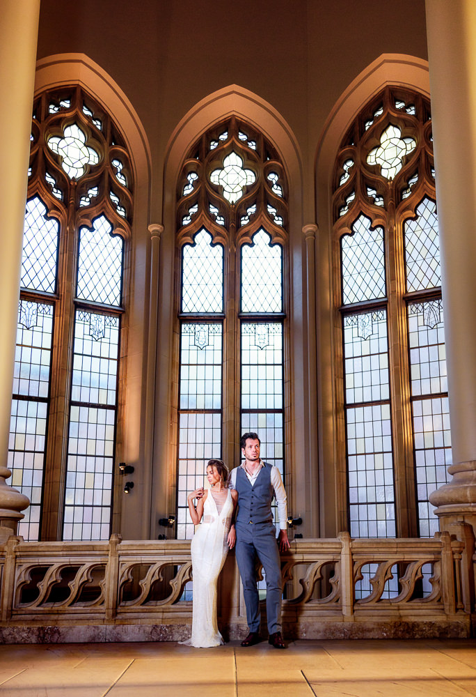 Couple looking away from each other in the Suzzallo library, Epic Couple's Session in Seattle, Lazzat Photography, Engagement photos, wedding photos