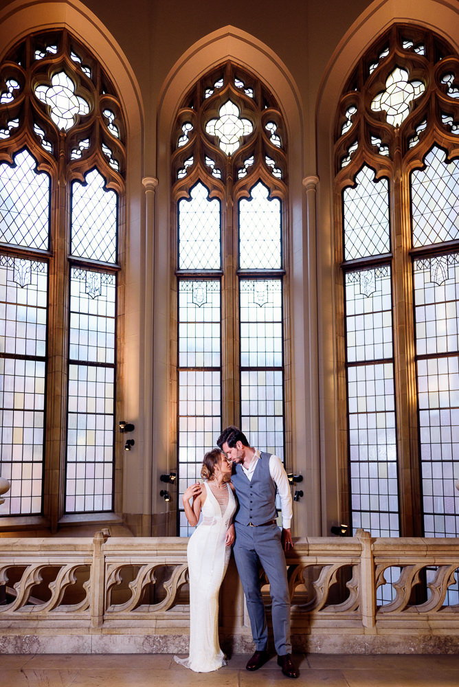 Couple head to head in the Suzzallo library, Epic Couple's Session in Seattle, Lazzat Photography, Engagement photos, wedding photos