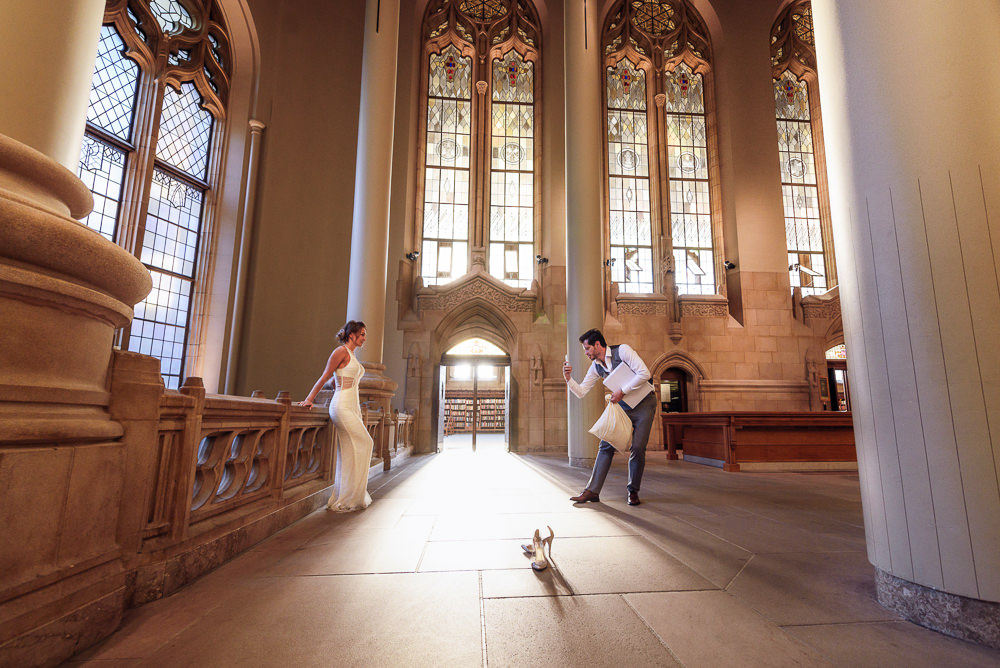 Man asking woman to dance in the Suzzallo library, Epic Couple's Session in Seattle, Lazzat Photography, Engagement photos, wedding photos