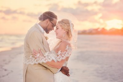 Pensacola Beach Destination Wedding, Delaine and Desireé head to head under the veil, Lazzat Photography