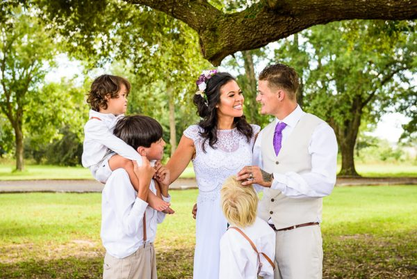 Michelle and Brent with their three kids, Ates Ranch Wedding Barn, Rustic Barn Wedding, Pensacola wedding photographer, Lazzat Photography