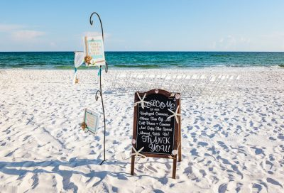 Pensacola Beach Destination Wedding, welcome signs at Desireé and Delaine's beach wedding, Lazzat Photography