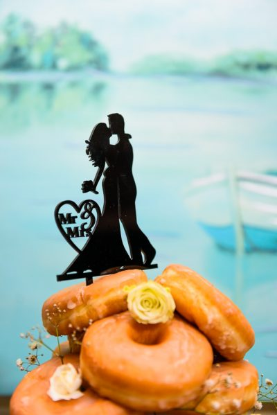 Pensacola Beach Destination Wedding, Desireé and Delaine's silhouette doughnut cake topper, Lazzat Photography