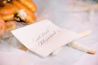 "Pensacola Beach Destination Wedding, ""eat, drink and be married"" napkin, Lazzat Photography"