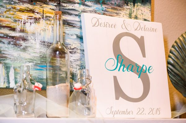 "Pensacola Beach Destination Wedding, ""Desireé & Delaine Sharpe September 22, 2018"" sign and unity sand, Lazzat Photography"