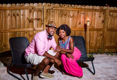 Pensacola Beach Destination Wedding, 2 guests sitting on lawn chairs, Lazzat Photography