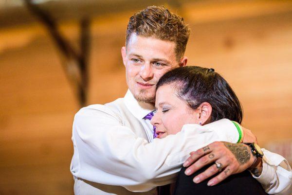Brent hugging his mom, Ates Ranch Wedding Barn, Rustic Barn Wedding, Pensacola wedding photographer, Lazzat Photography