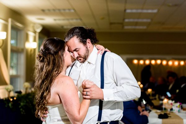 Downtown Pensacola Wedding, Cody and Kerri dancing head to head, Lazzat Photography