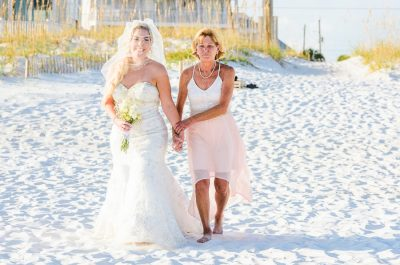 Pensacola Beach Destination Wedding, Desireé's mom walking her down the aisle on the beach, Lazzat Photography
