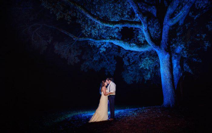 Downtown Pensacola Wedding, Kerri + Cody standing under blue tree, Lazzat Photography