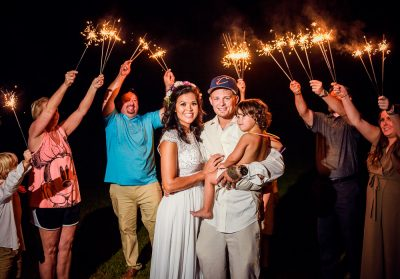 Michelle+Brent's sparkler exit at Ates Ranch Wedding Barn, Rustic Barn Wedding, Pensacola wedding photographer, Lazzat Photography