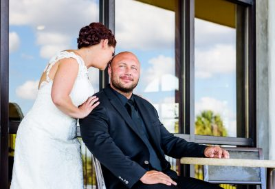 Ashley whispering in Hill's ear, Pensacola Waterfront Wedding, Ashley+Hill, Lazzat Photography