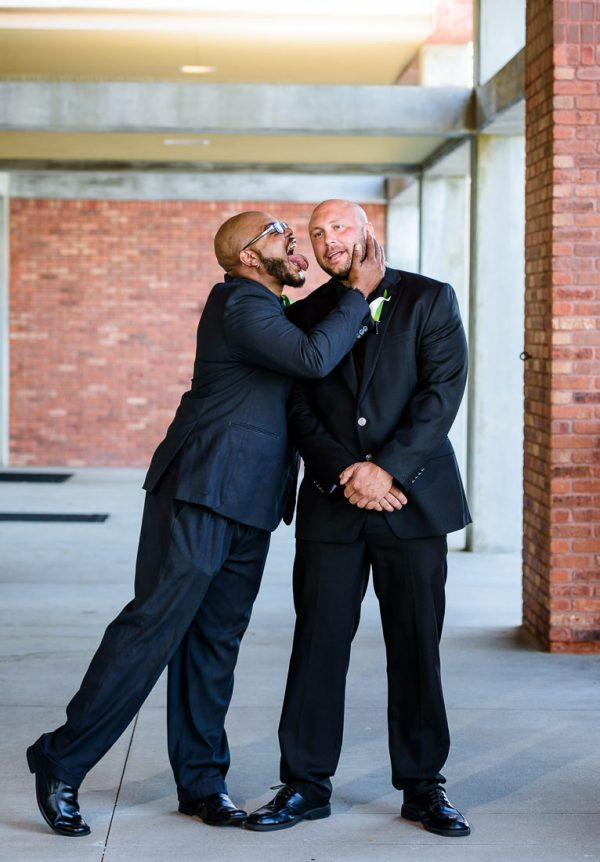 Hill's best man fake licking Hill, Pensacola Waterfront Wedding, Ashley+Hill, Lazzat Photography