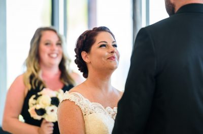 Close up of Ashley looking at Hill during their ceremony, Pensacola Waterfront Wedding, Ashley+Hill, Lazzat Photography