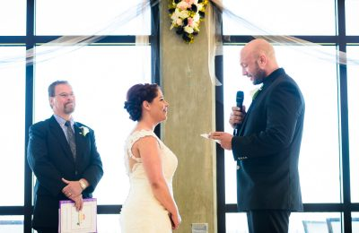 Hill reading his vows to Ashley, Pensacola Waterfront Wedding, Ashley+Hill, Lazzat Photography