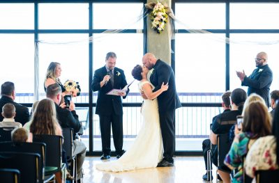 Ashley and Hill's first kiss, Pensacola Waterfront Wedding, Ashley+Hill, Lazzat Photography