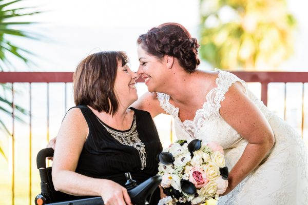 Ashley and her mom smiling at each other, Pensacola Waterfront Wedding, Ashley+Hill, Lazzat Photography