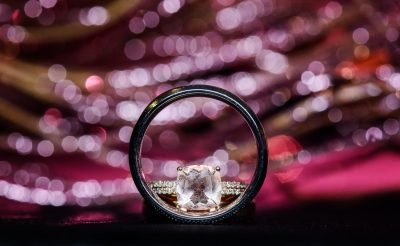 Ashley and Hill's rings, pink background, Pensacola Waterfront Wedding, Ashley+Hill, Lazzat Photography
